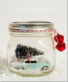 DIY Car with Tree in Jar Snow Globe