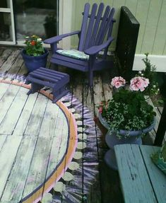 25 Ideas Garden Furniture Painted Decks For 2019 Painted Deck Floors, Painted Wood Deck, Painted Rug, Painted Garden Furniture, Furniture Vintage, Design Furniture, Plywood Furniture, Deck Rug, Muebles Shabby Chic