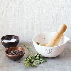Labeled Kitchen Mortar + Pestle