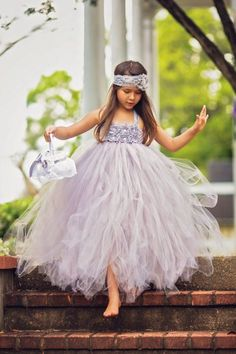 would need more flowers to be sure the band isnt showing at the top Gray Flower Girl Dress, Custom Flower Girl Dress Girls Tutu Dresses, Tutus For Girls, Little Girl Dresses, Pageant Dresses, Party Dresses, Grey Flower Girl Dress, Baby Dress, Flower Girls, Baby Skirt