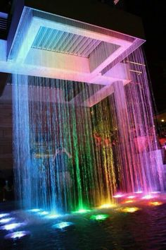 OMG rainbow waterfall for a house I definitely will have one of those for my dream house Dream Home Design, My Dream Home, Modern House Design, Neon Room, Luxury Homes Dream Houses, Luxury House Plans, Cute Room Decor, Dream Pools, Luxury Swimming Pools