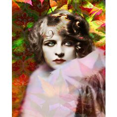 Autumn vintage goddess photomontage digital art print orange green red leaves 1920 s wall art on Etsy, $24.00