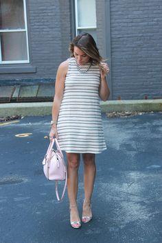 Shelby Skaggs of Glitter & Gingham, LOFT Dress, Rebecca Minkoff Bag, Bauble Bar Necklace