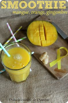 Smoothie mangue orange gingembre (recette anti-inflammatoire) Weight Loss Smoothie Recipes, Yummy Smoothies, Cocktails, Drinks, Pudding, Tasty, Nutrition, Treats, Snacks
