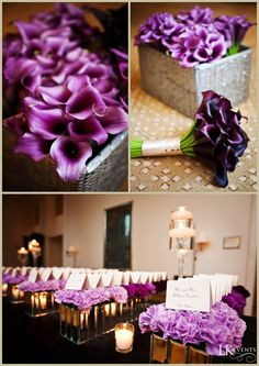 LKEvents produces multiple Chicago area weddings each year. Their coordinators and planners will assist you in designing and planning your special day. Purple And Green Wedding, Purple Wedding Flowers, Deep Purple, Calla Lillies, Calla Lily, Lilies, Floral Wedding Cakes, Floral Cake, Hotel Wedding