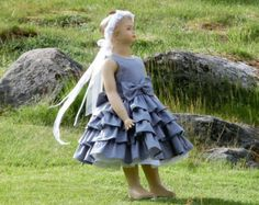 14e2739d09bc Grey flower girl dress Girls polka dot dress by englaCharlottaShop ...