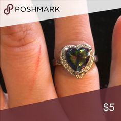 Fashion heart diamond studded vintage ring Fashion ring size 7 cute costume jewelry fashionista Jewelry Rings