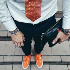 Orange is the new black.  #TheGentlemansPride For more Men's style and content visit: http://ift.tt/1tgoKHE
