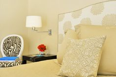 Peach Bedroom with Zebra Chair - Contemporary - Bedroom Light Pink Girls Bedroom, Peach Bedroom, Floral Bedroom, Bedroom Size, Commercial Interior Design, Commercial Interiors, Zebra Chair, Feature Wall Bedroom, Girl Bedroom Designs