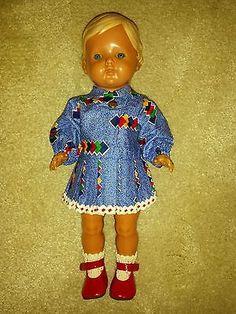 Vintage-Suesses-Puppenkleid-60er-Jahre-blau-Mit-OVP-z-B-fuer-Schildkroet-Puppen