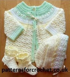 Adorable Three Piece Free Baby Crochet Pattern from http://www.patternsforcrochet.co.uk/coat-hat-booties-usa.html #freecrochetpatterns #patternsforcrochet