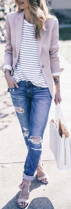 summer outfits Blush Blazer + Striped Tee + Ripped Denim