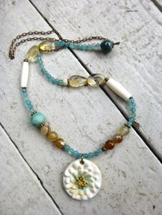 ceramic, stone, bone, chain, http://www.mckeejewelrydesigns.com/  Andria McKee, McKee Jewelry,  McKee Jewelry Designs,   Hand made jewelry, jewellery