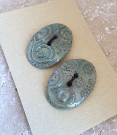 Aqua Glazed Ceramic Buttons Set of Two Stoneware by knjStudio
