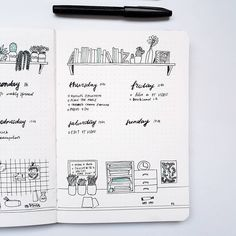 Part of my weekly spread. I #doodle a work table and the shelves above the weekdays. Do you like to  doodle in your bujo? .  .  . #bujolove #bujojunkies #bujoinspire #bujoinspo #bujo #bulletjournaljunkies #bulletjournaladdict #bulletjournal #planner #planning #stationery #weeklyspread #bujoweekly #bulletjournalweekly  #bujoinspiration #bujobeauty #bulletjournalss