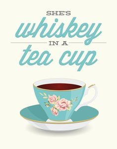 She's Whiskey in a Teacup print funny kitchen art by noodlehug