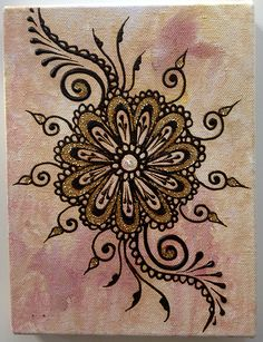 Henna paste and acrylic paint on stretched canvas. Art Painting, Painting Inspiration, Painting, Henna Canvas, Art, Canvas Art, Henna Art, Canvas Painting, Zen Art
