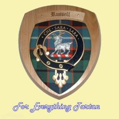 Clan Russell Tartan Woodcarver Wooden Wall Plaque Russell Crest 7 x 8