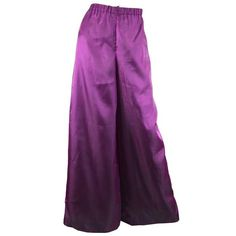 Preowned Christian Lacroix Vintage Wide Leg Iridescent Purple Palazzo... (335 AUD) ❤ liked on Polyvore featuring pants, purple, wide leg pants, wide leg palazzo pants, purple pants, high-waisted palazzo pants, high waisted wide leg pants and high waisted wide leg trousers