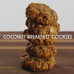 Coconut Breakfast Cookies // A quick, yummy breakfast or a nourishing afternoon snack! Delicious cookies featuring bananas, oats, walnuts and lots of coconut. If you like, you can replace the protein powder with 2 tablespoons flaxseed meal and a few drops of pure vanilla extract.