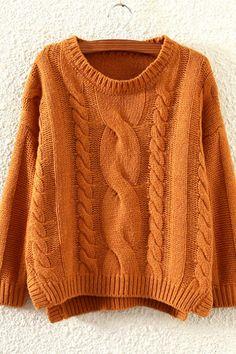Otoño Invierno Mujeres Moda suelta Hem de Split Cable de punto del suéter