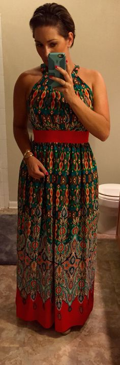 Eliza J Print Crepe de Chine Maxi Dress. Not a Stitch Fix item but a new Nordstrom purchase for a wedding next week. This was my first maxi purchase. I think I'm in love with maxis!