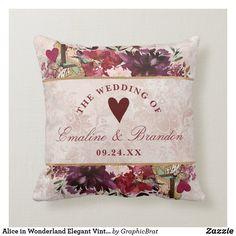 Alice in Wonderland Elegant Vintage Floral Wedding Throw Pillow Ring Bearer Pillows, Burgundy Wedding Invitations, Ceremony Decorations, Free Sewing, Custom Pillows, Vintage Floral, Alice In Wonderland, Floral Wedding, Floral Design
