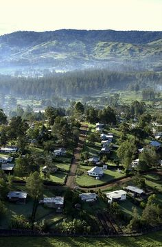 Ukarumpa, Papua New Guinea (my home town).  I love this pic because it practically features our house.  :)  Our house is at the left front, on the street corner.