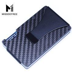 In Fibra di carbonio RFID Mini Slim Fermasoldi Portafoglio di Metallo Alluminio Affari ID Porta Carte di Credito Con Anti-capo Caso Protector
