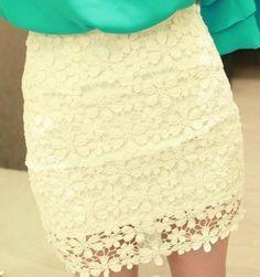 Beautiful White High Waisted Lace Mini Skirt