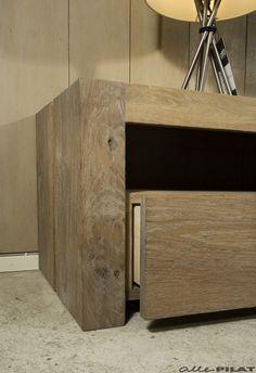 Eiken tv-meubel Sjoch met 3 laden en een open vak - Alle Pilat