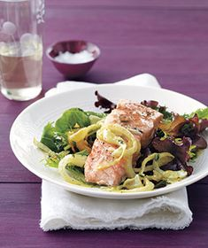 This entire dish cooks in the oven together, meaning there's very little hands-on work for the chef. Get the recipe for Salmon With Roasted-Lemon Vinaigrette.