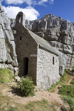 Govan's Chapel, Pembrokeshire, Wales - the building measures 20 by 12 feet. Finished in the century although parts of it may date back further to the century when Saint Govan, a monk moved into a cave located on the site of the chapel.