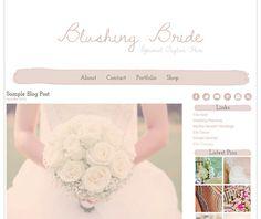 Premade Wordpress Theme Design - Blushing Bride - Wordpress Template via Etsy