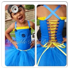 Little girl Minion costume. Love it for a little girls despicable me party. Amazing.