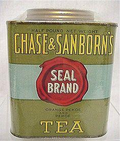 Chase & Sanborn's Seal Brand Tea half pound tea tin, rectangular with screw cap lid, c. early-mid 20th century, USA