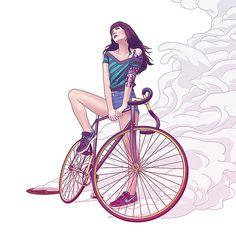 cool elements: bike, girl, waves