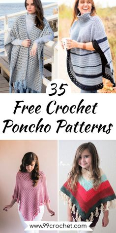 35 Free Crochet Poncho Patterns for Beginners – Michelle Williamson - Crochet Hooded Poncho Pattern, Crochet Cape Pattern, Poncho Au Crochet, Crochet Yarn, Easy Crochet, Free Crochet Poncho Patterns, Boho Gypsy, Crochet Turtle, Beginner Crochet Projects