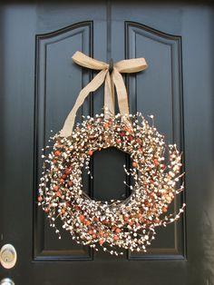 Fall Door Decor - Pumpkins and Cream Berry Wreath - Autumn Decorating.