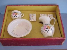 Childs antique RS Prussia toilette wash set in the original box