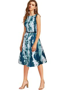 006789b656f Fit And Flare Printed Knee Length Dress - GlowRoad