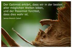 Mein Papa sagt... Der Optimist erklärt, dass wir in der besten aller möglichen Welten leben, und der Pessimist fürchtet, dass dies wahr ist. James Branch Cabell #Zitate #deutsch #quotes Weisheiten und Zitate TÄGLICH NEU auf www.MeinPapasagt.de