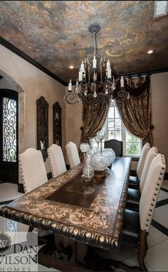 If you are having difficulty making a decision about a home decorating theme, tuscan style is a great home decorating idea. Many homeowners are attracted to the tuscan style because it combines sub… Home Confort, Tuscan Dining Rooms, Tuscan Bedroom, Dining Table, Luxury Dining Room, Bedroom Modern, Tuscany Decor, Interior Design Minimalist, Mediterranean Home Decor