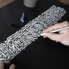 "562 Me gusta, 9 comentarios - Oscar Handstyles (@oscarhandstyles) en Instagram: ""' Bad Attitude ' ✒ Process Shot of yesterdays work on black paper. Self mixed white ink used…"""