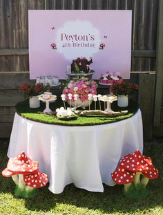 Sharnel D's Birthday / Enchanted Forest/Woodland Fairy - Photo Gallery at Catch My Party Fairy Birthday Party, Girl Birthday, Birthday Parties, Birthday Ideas, Ben E Holly, Kids Party Themes, Party Ideas, Party Party, Enchanted Forest Party