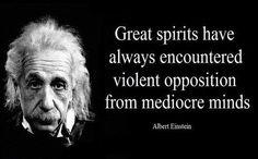 """Great spirits have always encountered violent opposition from mediocre minds"" - Albert Einstein"