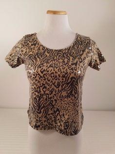 Womens Material Girl Leopard Design Sequenced Evening Short Sleeve Top Blouse S #MaterialGirl #Blouse