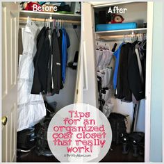 tips for an organized coat closet that really work. hide the wires. organization. tips, before.  life hacks. home tips. organize your home. love your home
