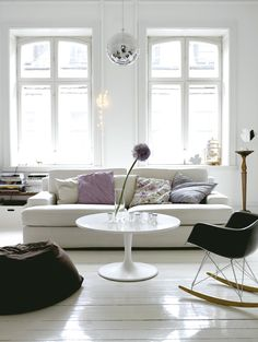 Scandinavian Retreat // living room with disco ball to reflect light #Scandinavian #home #decorating