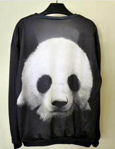 The new autumn fashion panda head animal 3d print stamp harajuku Sweatshirts hoodies pullover women casual cute free shipping